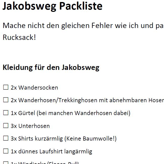 Packliste Jakobsweg PDF - www.jakobsweg-kuestenweg.de